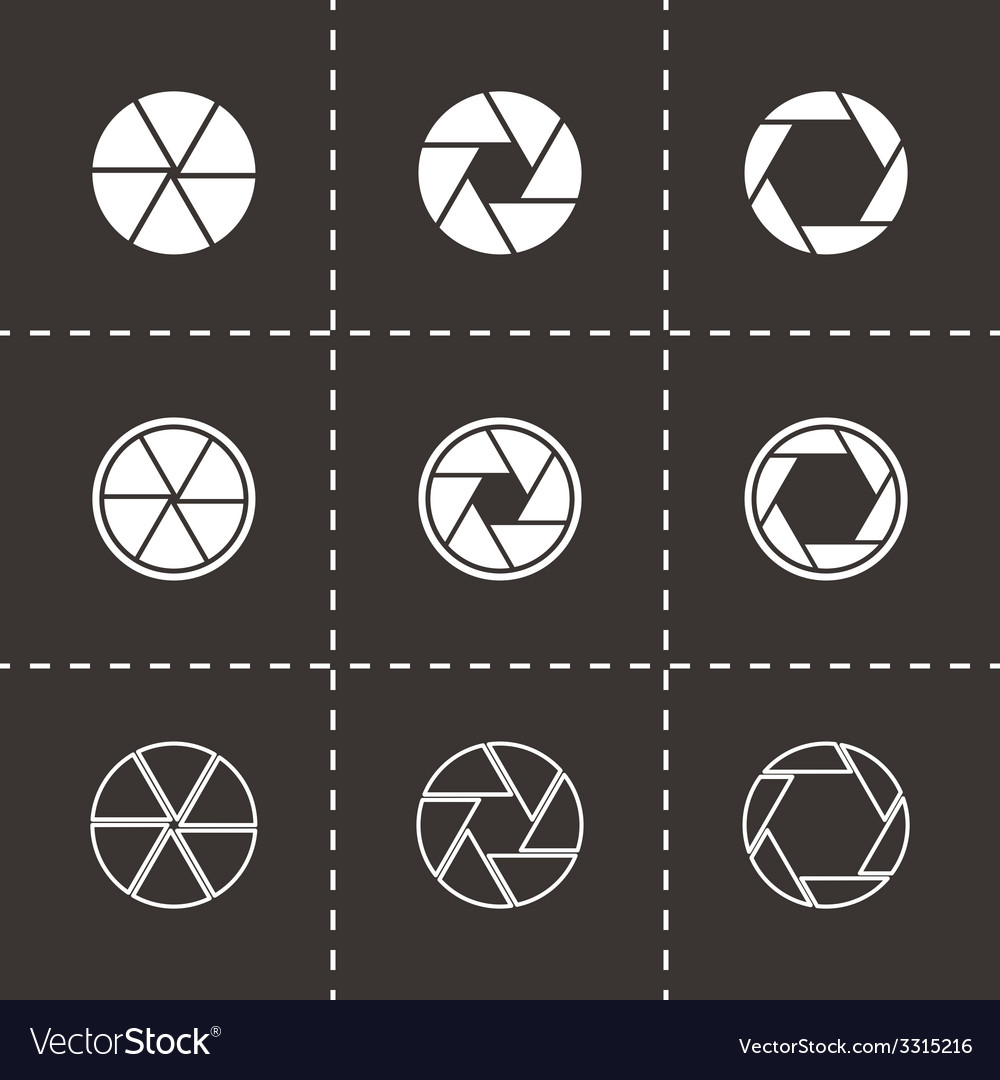 Black camera shutter icon set vector | Price: 1 Credit (USD $1)
