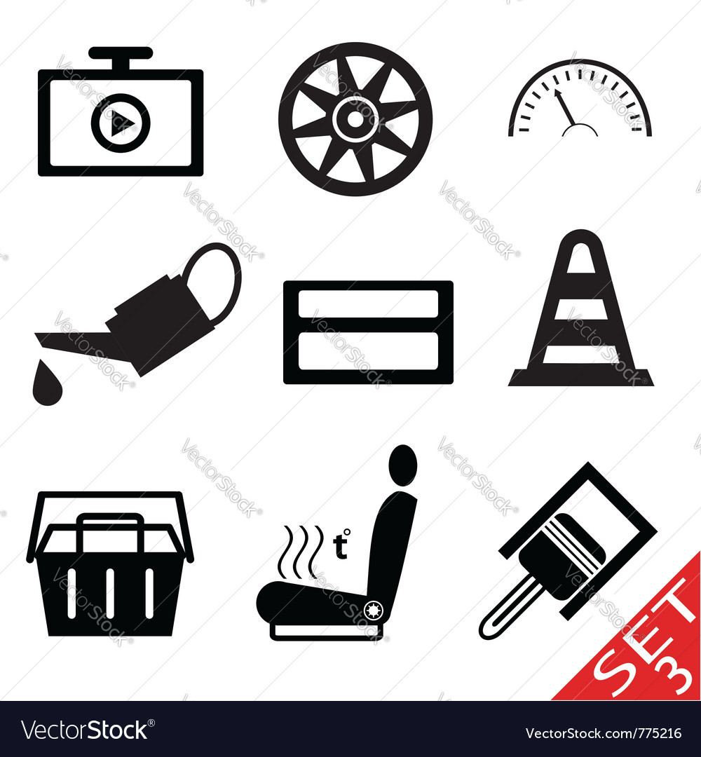 Car part icon set 3 vector | Price: 1 Credit (USD $1)
