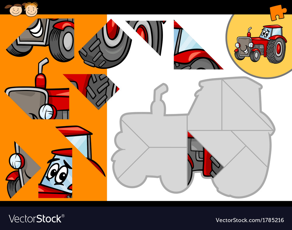 Cartoon tractor jigsaw puzzle game vector | Price: 1 Credit (USD $1)