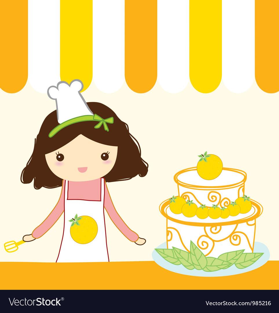 Cute orange girl vector | Price: 1 Credit (USD $1)