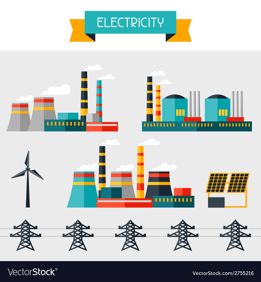Electricity set of industry power plants in flat vector | Price: 1 Credit (USD $1)