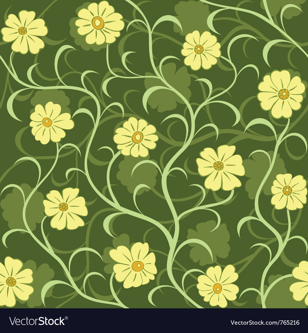 Flower field seamless pattern vector | Price: 1 Credit (USD $1)
