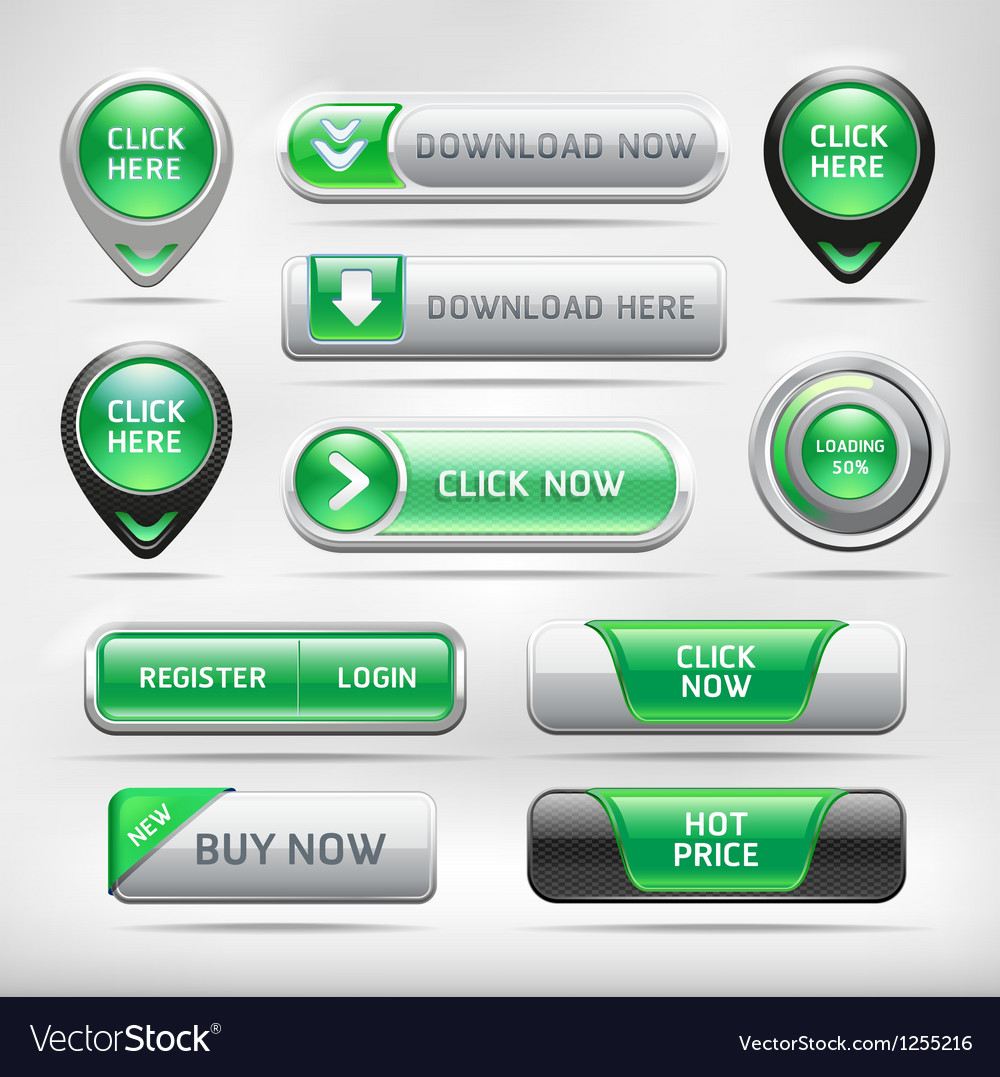 Green glossy web elements button set vector | Price: 3 Credit (USD $3)