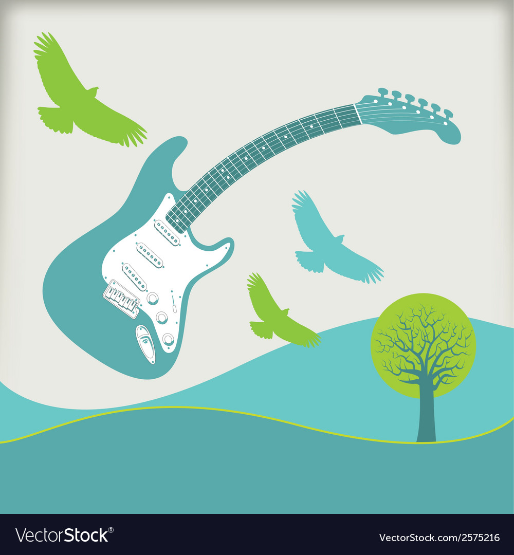 Guitar fly landscape3 vector | Price: 1 Credit (USD $1)
