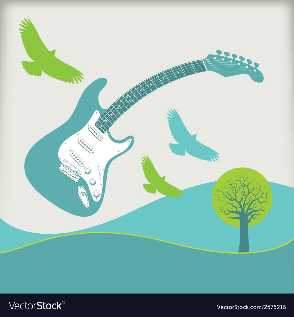 Guitar fly landscape3 vector | Price: 1 Credit (USD $1)