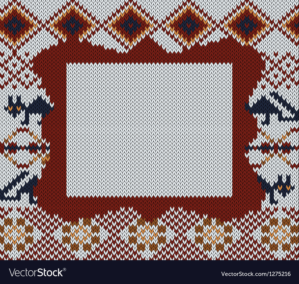 Knitted folk background with frame for your text vector | Price: 1 Credit (USD $1)