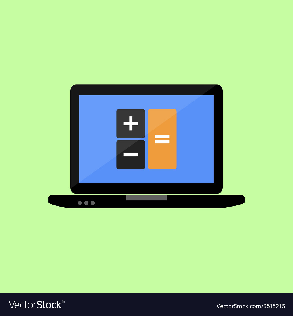Latop with calculator icon vector | Price: 1 Credit (USD $1)