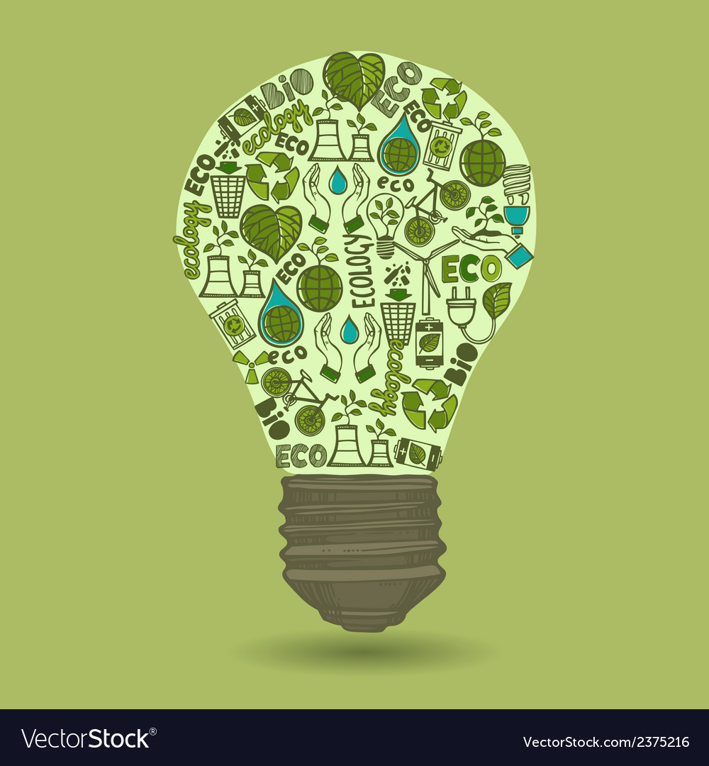 Lightbulb with sketch ecology and waste icons vector | Price: 1 Credit (USD $1)