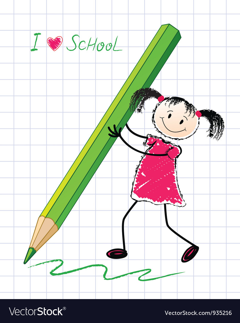 Little girl with a pencil vector | Price: 1 Credit (USD $1)