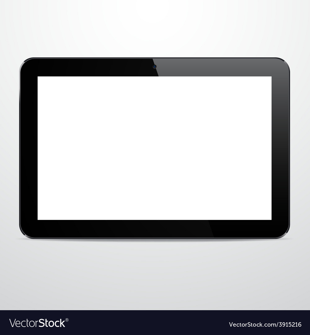 Realistic horizontal black tablet pc vector | Price: 1 Credit (USD $1)