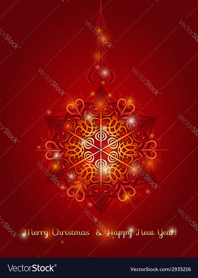 Red background with big snowflake vector | Price: 1 Credit (USD $1)