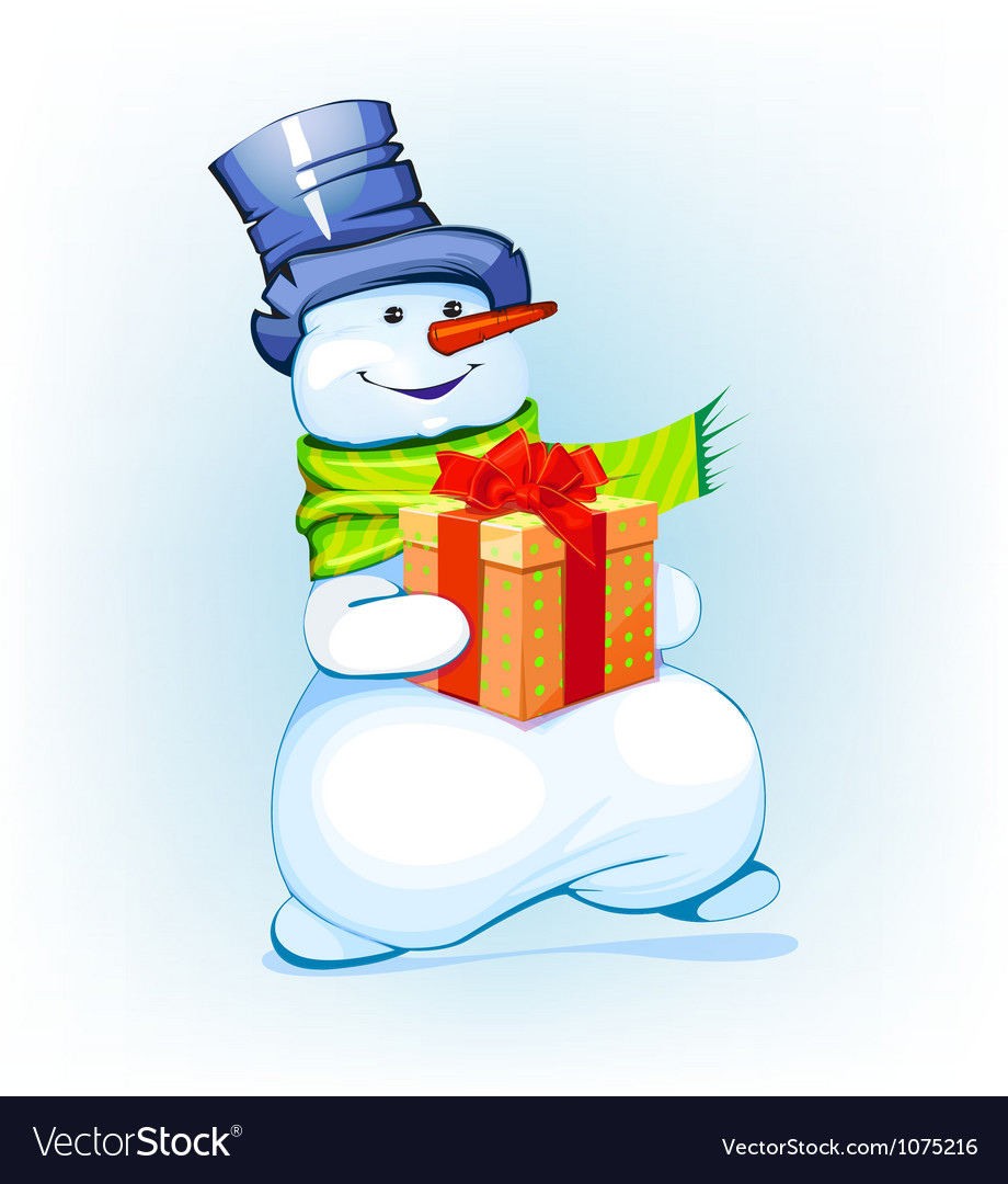 Snowman holding a gift vector | Price: 1 Credit (USD $1)