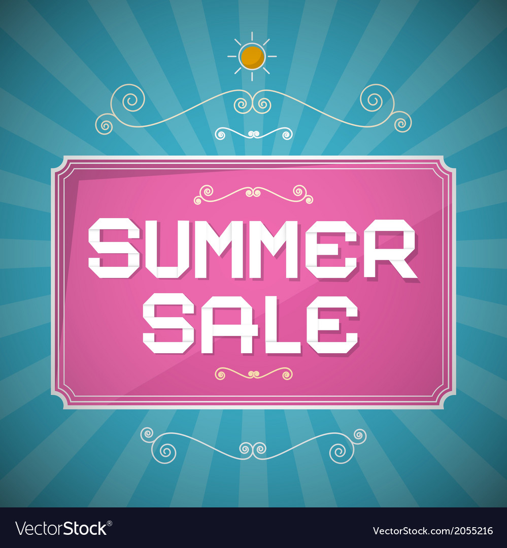 Summer sale paper title on abstract blue vector | Price: 1 Credit (USD $1)