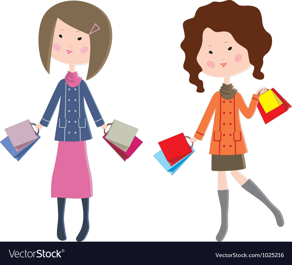 Two cartoon women with packages vector   Price: 1 Credit (USD $1)