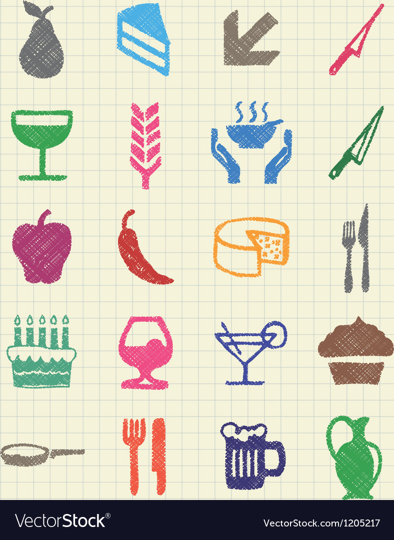 Food icons set drawn by color pencils vector | Price: 1 Credit (USD $1)
