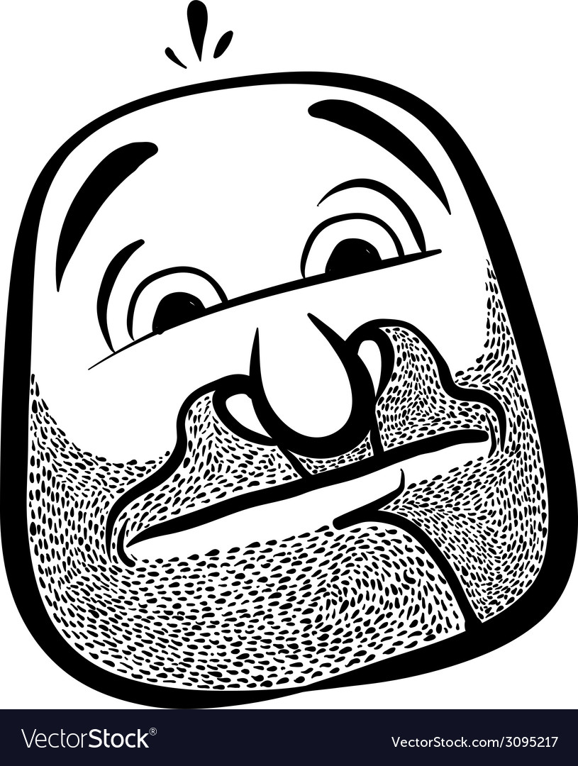 Funny cartoon face with stubble black and white vector | Price: 1 Credit (USD $1)