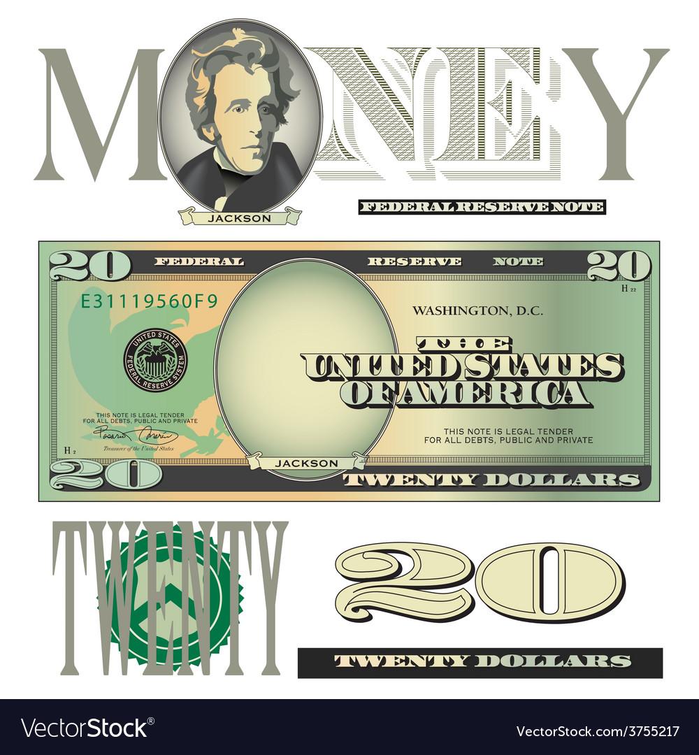 Money 20 dollars vector | Price: 1 Credit (USD $1)