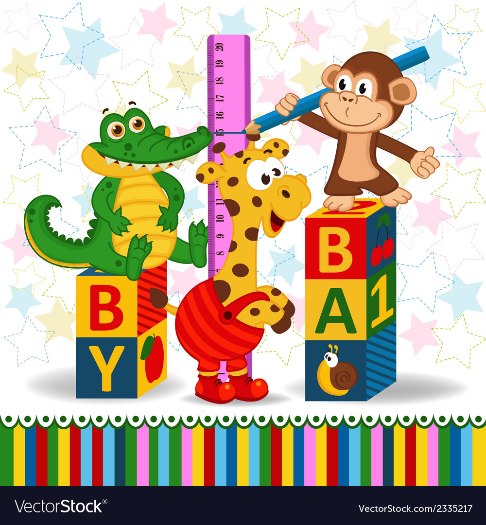 Monkey and crocodile measure the growth of a giraf vector | Price: 1 Credit (USD $1)