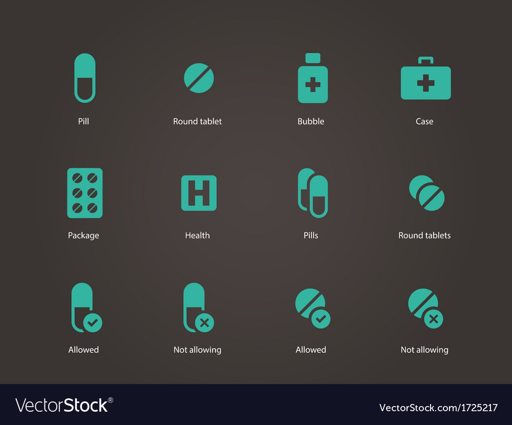 Pills and capsules icons vector | Price: 1 Credit (USD $1)