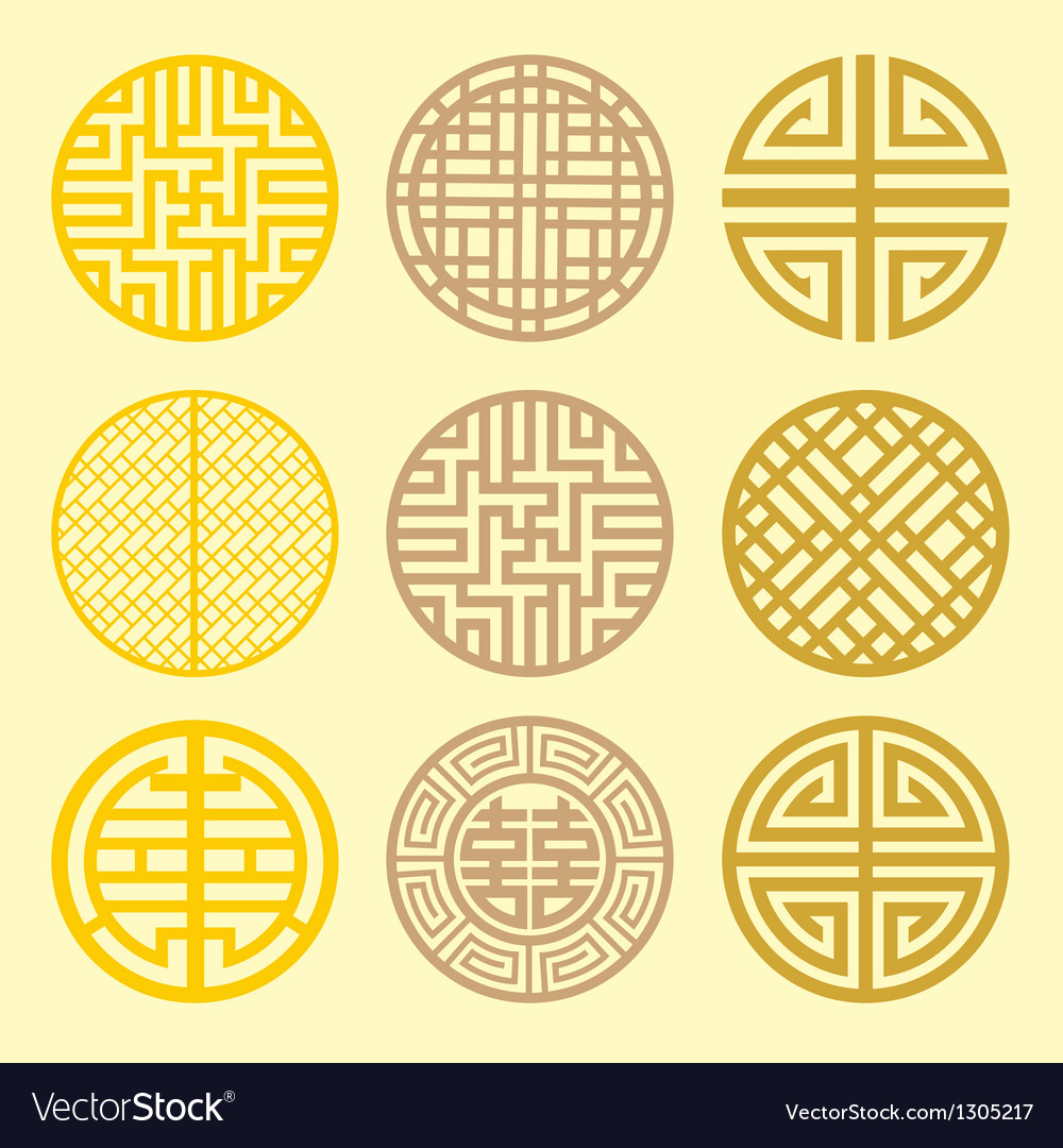 Round grid symbol sets geometric pattern design vector | Price: 1 Credit (USD $1)