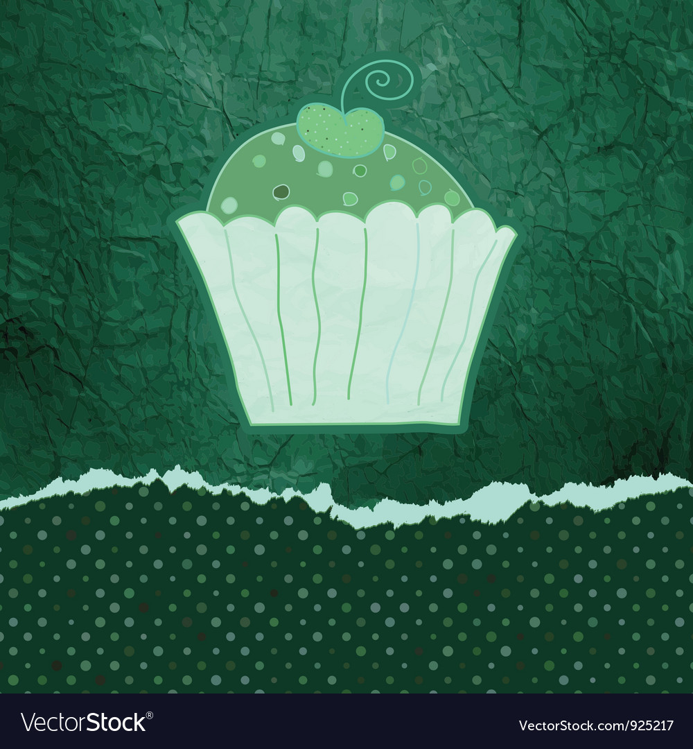 Vintage birthday card with cupcake eps 8 vector | Price: 1 Credit (USD $1)