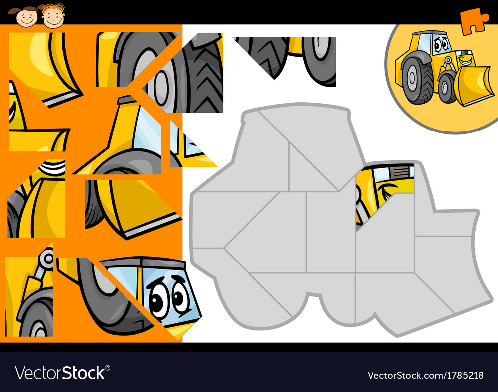 Cartoon bulldozer jigsaw puzzle game vector | Price: 1 Credit (USD $1)