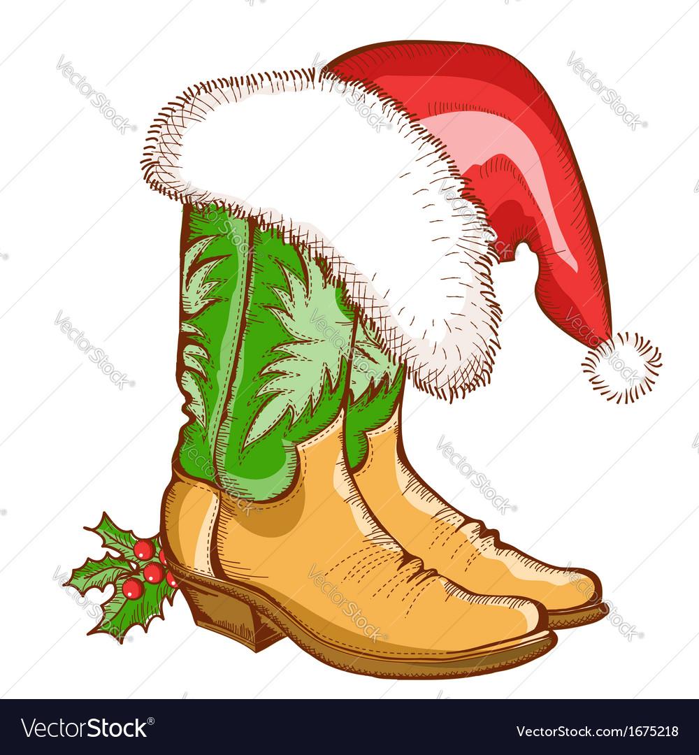 Christmas cowboy boots and santa hat vector | Price: 1 Credit (USD $1)