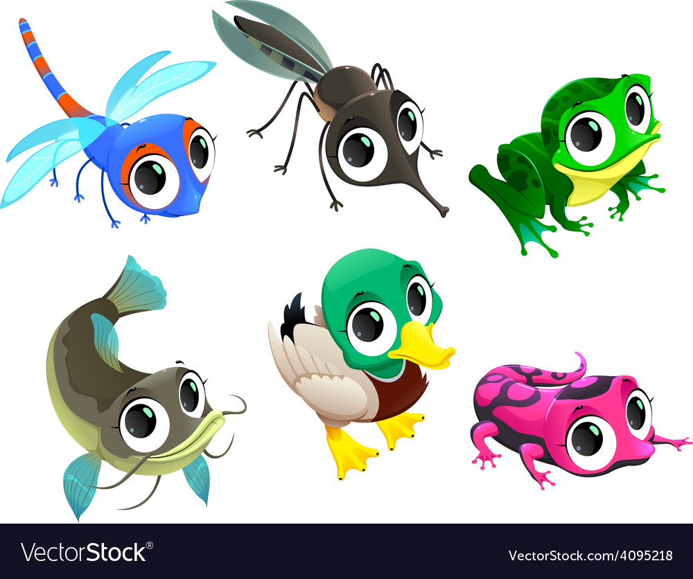 Funny animals of pond vector