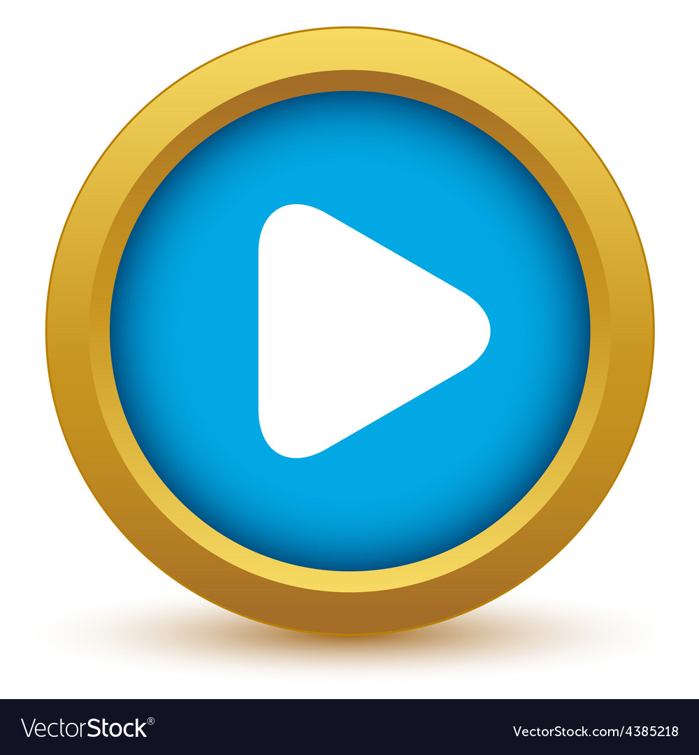 Gold play icon vector | Price: 1 Credit (USD $1)
