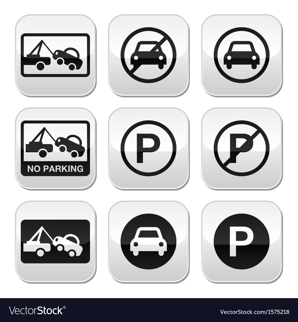 No parking cars buttons set vector | Price: 1 Credit (USD $1)
