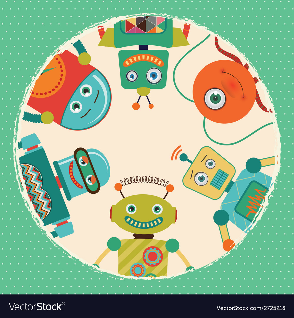 Retro robots card vector | Price: 1 Credit (USD $1)