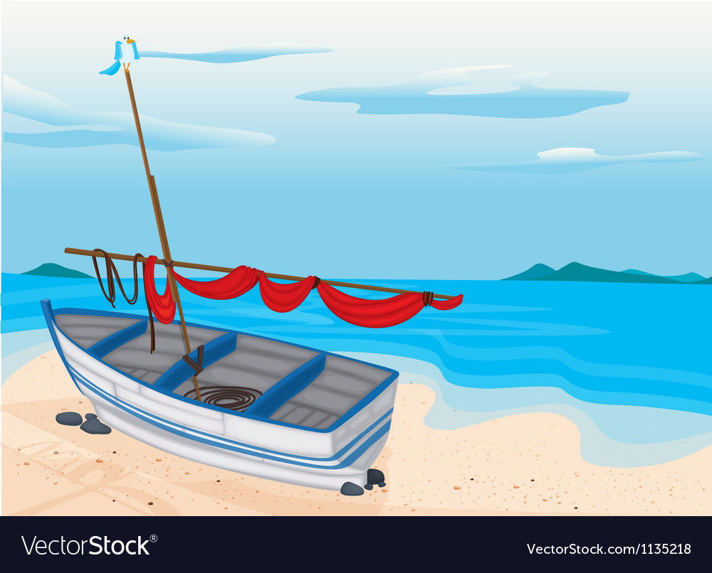 Sea beach and boat vector | Price: 1 Credit (USD $1)