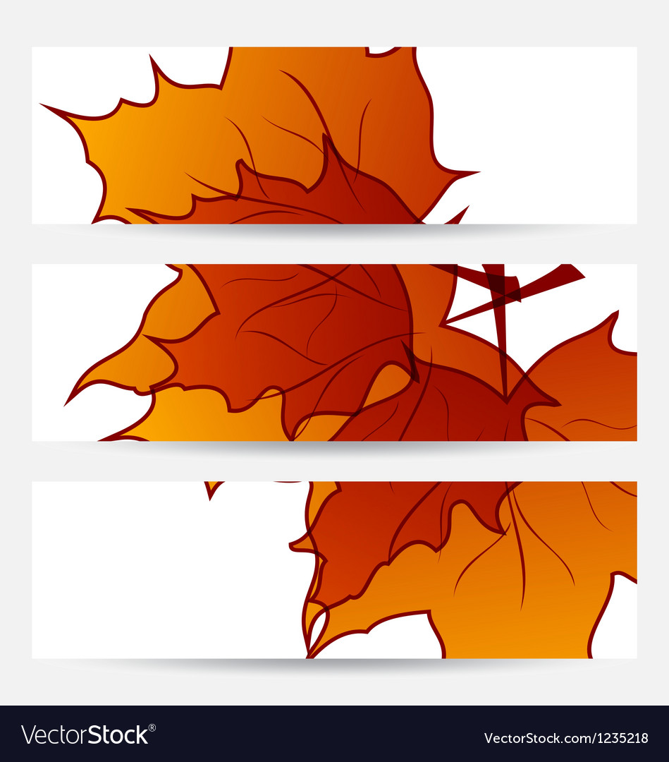 Set autumnal cards with maple leaves vector | Price: 1 Credit (USD $1)