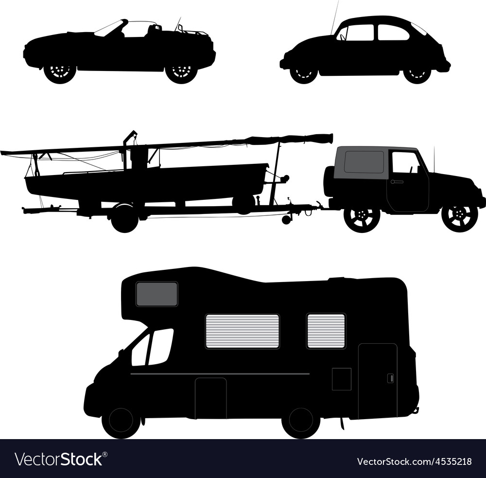 Transportation icons collection car silhouettes vector | Price: 1 Credit (USD $1)