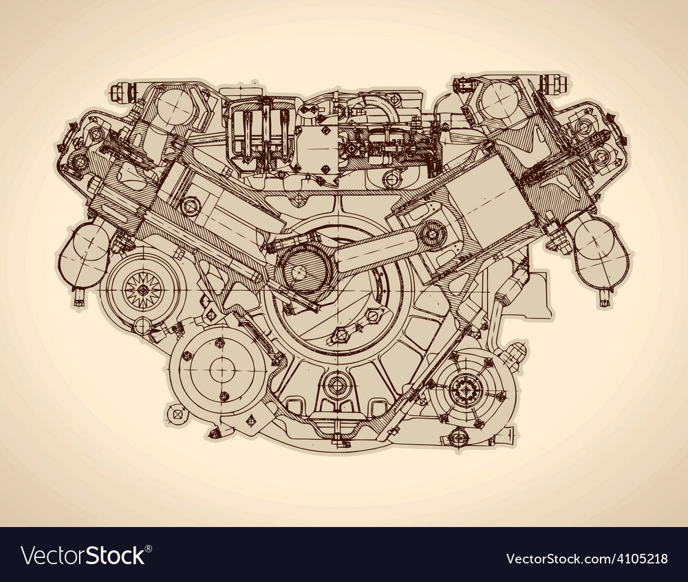 Vintage engine old picture vector | Price: 3 Credit (USD $3)