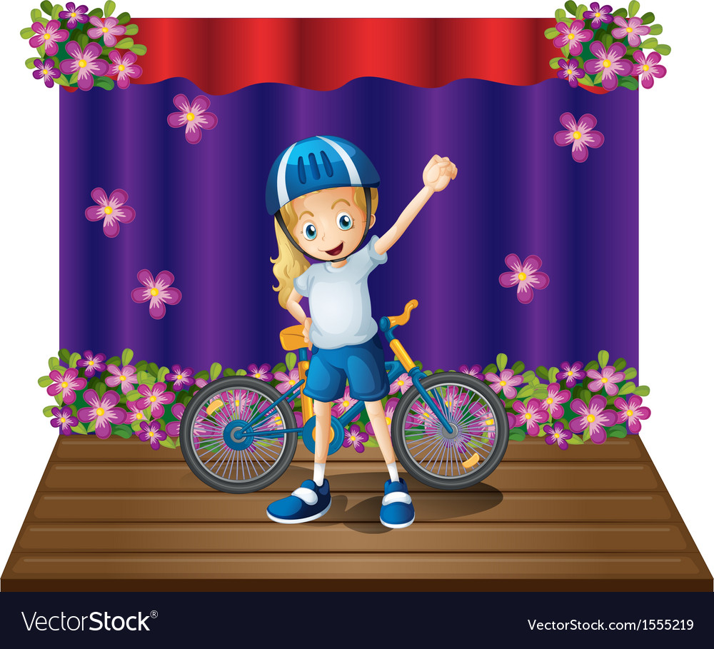 A stage with a female biker in the center vector   Price: 1 Credit (USD $1)