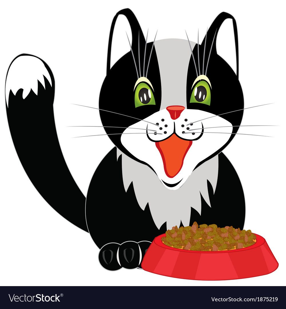 Cat and tureen with meal vector | Price: 1 Credit (USD $1)