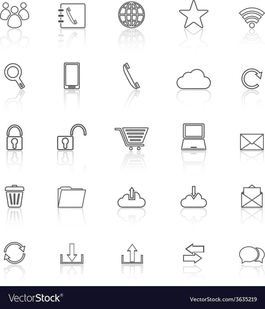 Communication line icons with reflect on white vector | Price: 1 Credit (USD $1)
