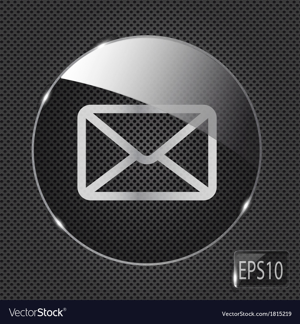 Glass mail button icon on metal background vector | Price: 1 Credit (USD $1)