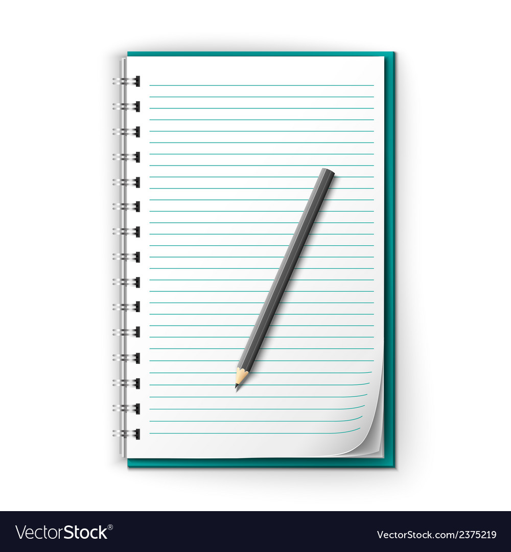 Lined notepad and pencil vector | Price: 1 Credit (USD $1)