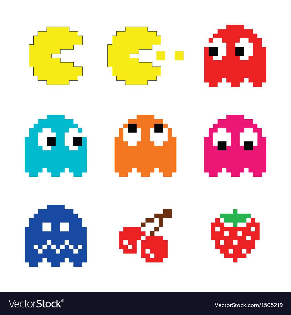 Pacman and ghosts 80s computer game icons set vector | Price: 1 Credit (USD $1)