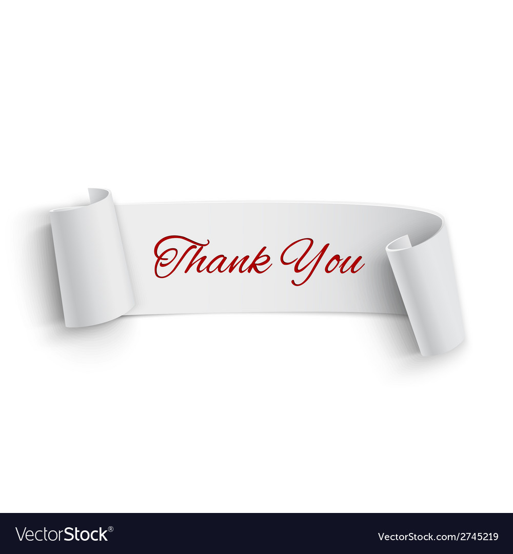 Realistic detailed thank you curved paper banner vector | Price: 1 Credit (USD $1)