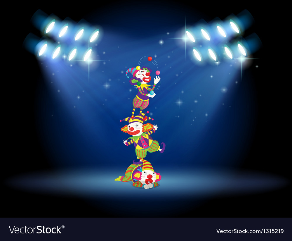 Three clowns performing on the stage with vector | Price: 1 Credit (USD $1)