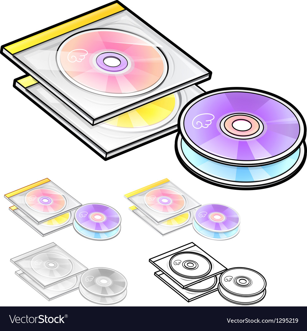 Various styles of compact disk sets vector | Price: 1 Credit (USD $1)