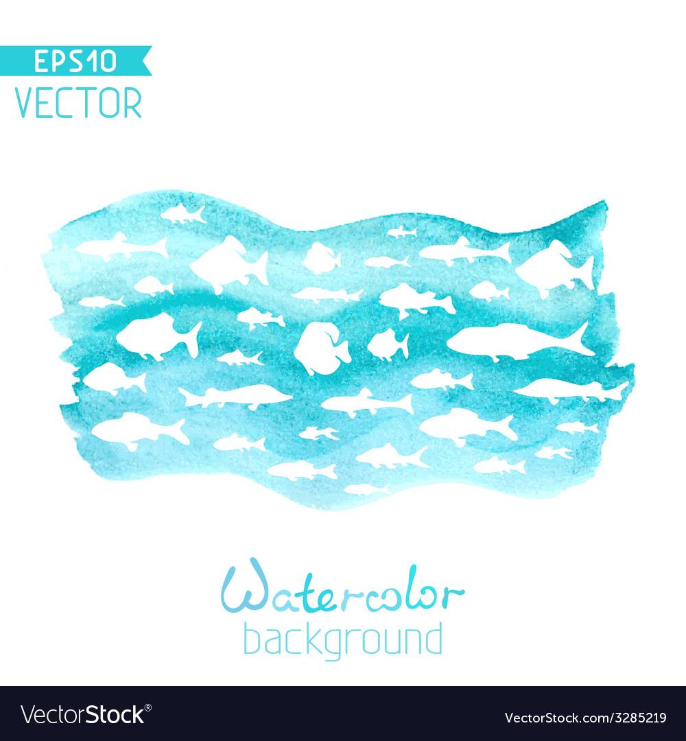 Watercolor sea background vector | Price: 1 Credit (USD $1)