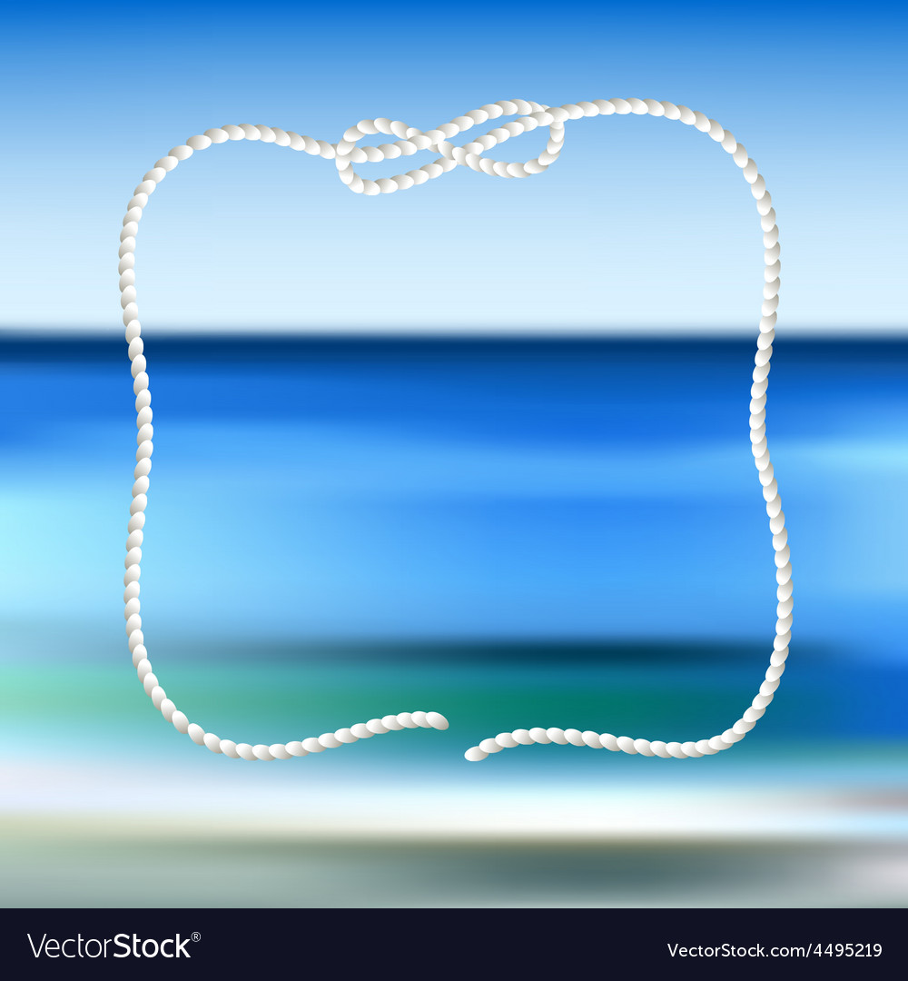 White rope frame on a blue sea blurred background vector | Price: 1 Credit (USD $1)