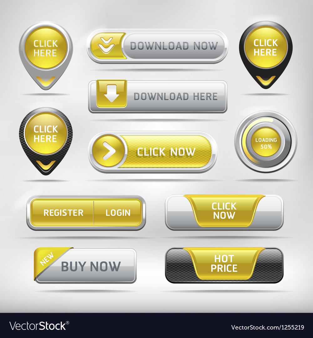 Yellow glossy web elements button set vector | Price: 3 Credit (USD $3)