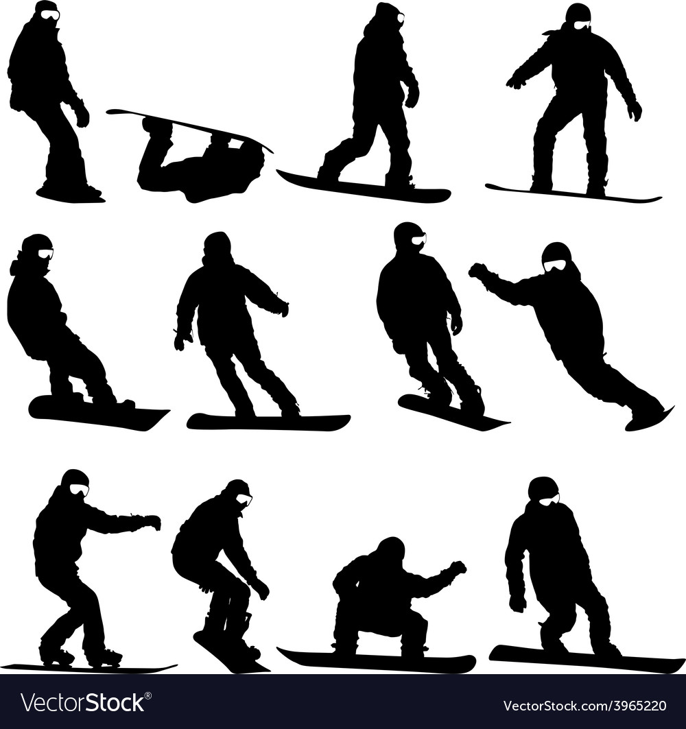 Black silhouettes set snowboarders on white vector | Price: 1 Credit (USD $1)