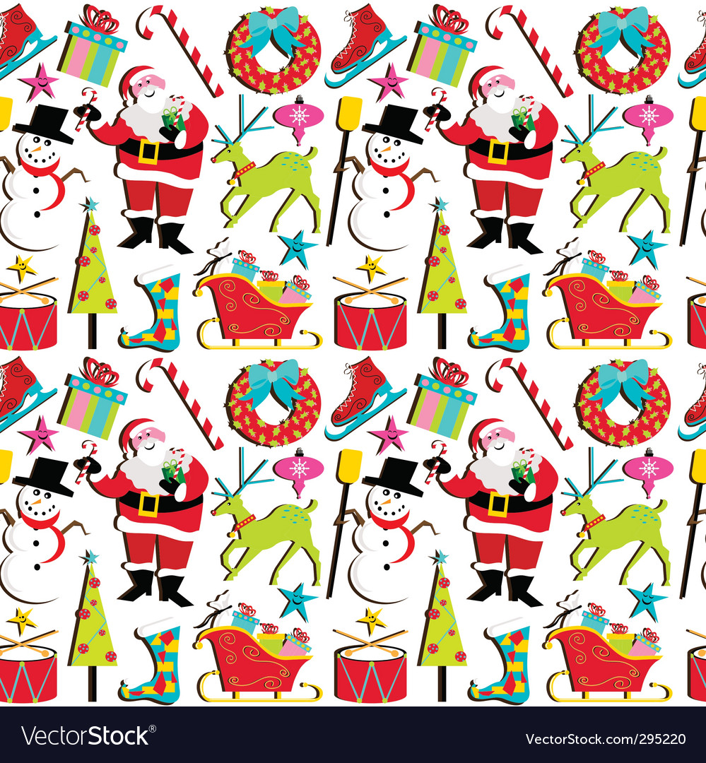 Christmas retro wallpaper vector | Price: 3 Credit (USD $3)