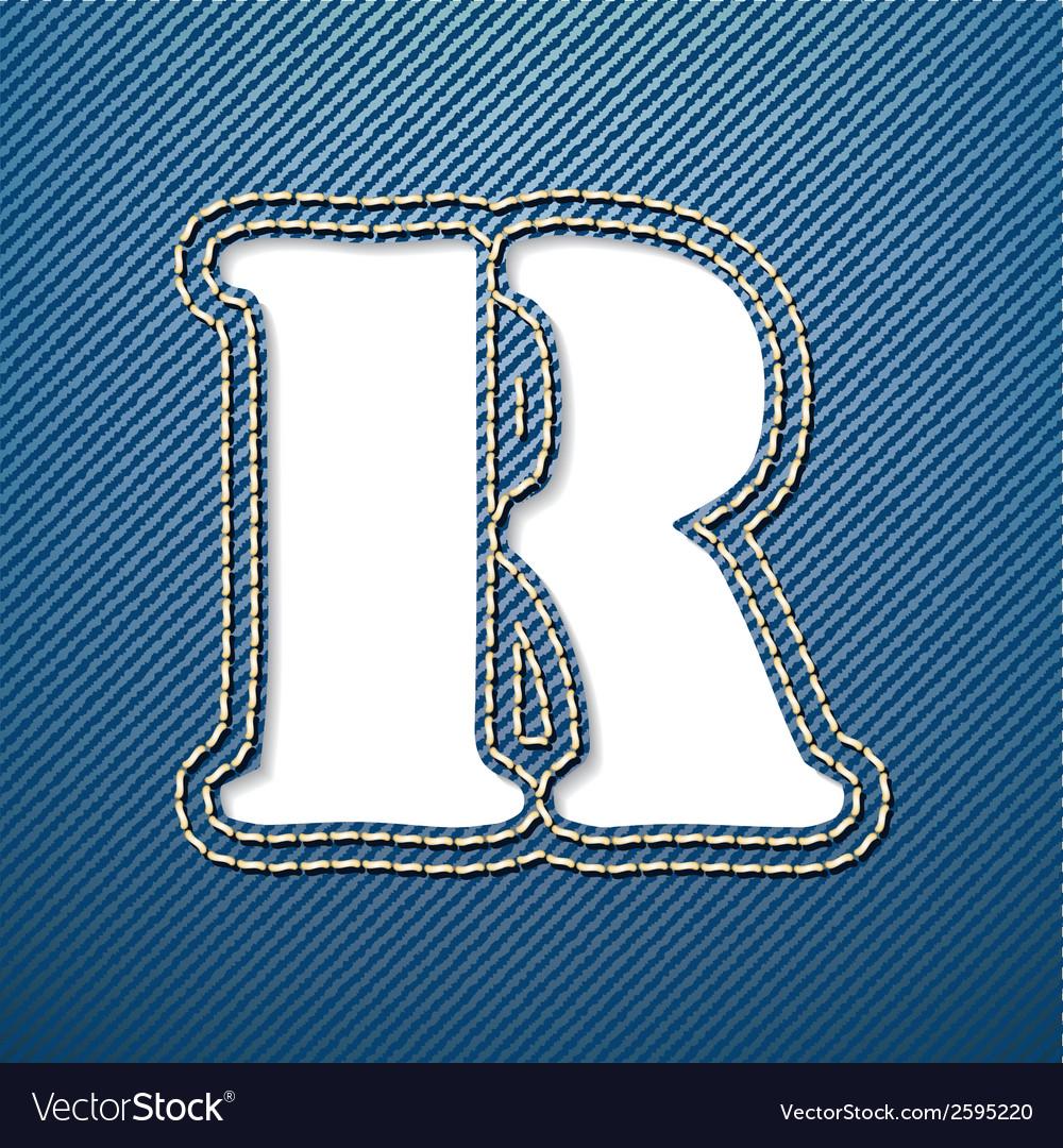 Denim jeans letter r vector | Price: 1 Credit (USD $1)